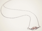 mini pea pod necklace with two peas, sterling silver and pearl