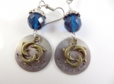 hand stamped dolphin mom earrings
