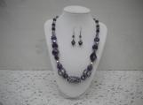 Royal Purple Beaded Neklace with Earrings