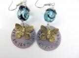 Hand stamped butterfly earrings