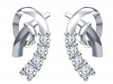 Platinum Plated 925 Silver White CZ Fashion Handmade Earrings