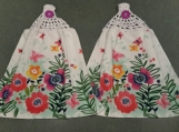 2 New Hanging kitchen towels with crocheted top/ Flowers