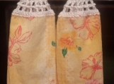 2 New Hanging kitchen towels with crocheted top/Hibiscus