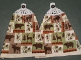 2 New Hanging kitchen towels with crocheted top/ Northern wood