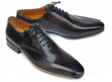 Paul Parkman Men's black leather oxfords. Side handsewn leather upper and leather sole