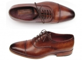 Paul Parkman Men's Captoe Oxfords Brown Hand Painted Shoes