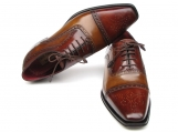 Paul Parkman Men's Captoe Oxfords - Camel / Red Hand-Painted Leather Upper and Leather Sole
