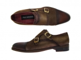 Paul Parkman Men's Double Monkstrap Captoe Dress Shoes - Brown / Beige Suede Upper and Leather Sole