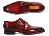 Paul Parkman Men's Double Monkstrap Shoes Black & Bordeaux Goodyear Welted