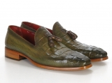 Paul Parkman Men's Green Crocodile Embossed Tassel Loafer