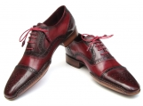 Paul Parkman Men's Side Handsewn Captoe Oxfords - Red / Bordeaux Leather Upper and Leather Sole