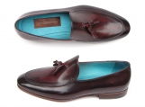 Paul Parkman Men's Tassel Loafer Black & Burgundy Shoes