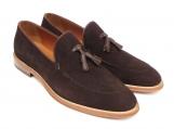 Paul Parkman Men's Tassel Loafer Brown Suede Shoes