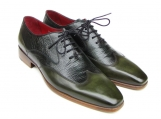 Paul Parkman Men's Wingtip Oxford Floater Leather Green