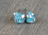 Blue apatite stud earrings | Sterling silver stud earrings | Raw