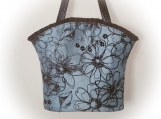 Tootles Boutique Bag - Blue Grey Tafetta Designer Fabric
