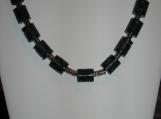 Men's Black and Silver Barrel Necklace