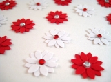 Red and White Flower Embellishments with Rhinestones