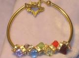Rainbow crystal gold tube bangle bracelet