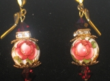Red Rose  IvoryTensha Bead Earrings