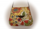 J Castle Crossbody Bag - Floral Tan Thick Canvas Designer Fabric