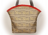 J Castle Designer Bag - Christmas Noel Natural Linen Metallic