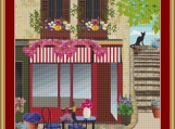 Cafe By The Steps Cross Stitch Pattern