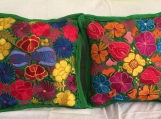 "1 pair (2 Green pillow cover ) handwoven and embroidered. 19.5"" x 19.5"" (50cm x 50 cm)"
