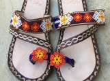 Size 11 USA Beaded Leather Sandals