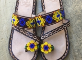 Size 8 USA huichol beaded sandals, handcrafted Mexican leather