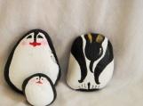 Set of THREE Penguins painted on stones