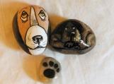 Trio of handpainted Dog stones