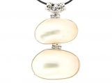 25mm x 40mm Two Oval Connected White Shell Cultured Pearl Base Metal 18 Inches Long Pendant Necklace