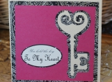 Fuchsia and Black Antique Key to My Heart Card
