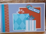 Orange and Turquoise Boys Present Card