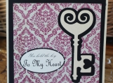 Pink and Black Antique Key to My Heart Card
