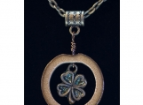 Real Bamboo and Four-Leaf-Clover Charm Pendant Necklace