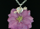 Real Flower Larkspur Blossom and Love Charm Pendant Necklace