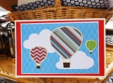 Red and Blue Hot Air Balloon Card