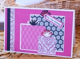Pink, Black and White Birthday Present Card