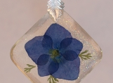 Real Blue Hydrangea Blossom Pendant Necklace
