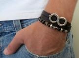 Men Bracelet Set - Men Beaded Bracelet - Men Leather Bracelet