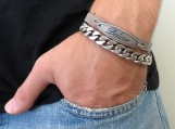 Men Bracelet Set - Men Leather Bracelet - Men Silver Bracelet