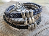 Men's Bracelet - Men Beaded Bracelet - Men Leather Bracelet