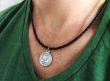 Men's Necklace - Men's Coin Necklace - Men's Leather Necklace