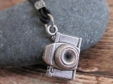 Men's Necklace - Men's Camera Necklace - Men's Silver Necklace