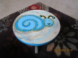 Wooden Snail Blue Stool- Hand painted