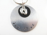 Hand stamped - dad to be-  keychain
