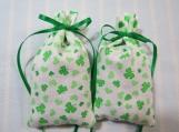 """St. Patrick's Day 4""""X2"""" White Sachet-'Backwoods' Fragrance-595"""