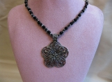 Flower Pendant Black and Silver Necklace
